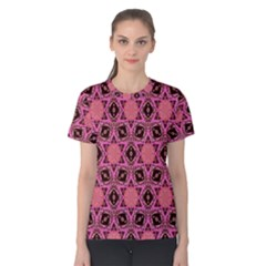 Background Colour Star Pink Flower Women s Cotton Tee by AnjaniArt