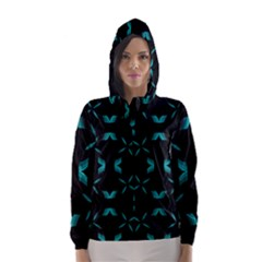 Background Wave Blue Hooded Wind Breaker (women) by AnjaniArt