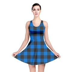 Black Blue Check Woven Fabric Reversible Skater Dress by AnjaniArt
