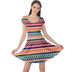Chevron Wave Cap Sleeve Dresses