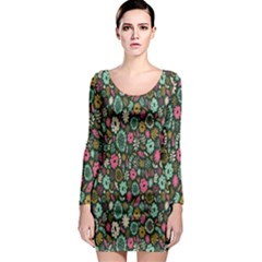 Floral Flower Flowering Rose Long Sleeve Bodycon Dress