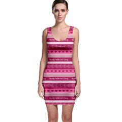 Happy Valentine Day Love Heart Pink Red Chevron Wave Sleeveless Bodycon Dress