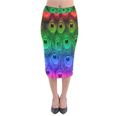 Peacock Feathers Rainbow Velvet Midi Pencil Skirt by AnjaniArt