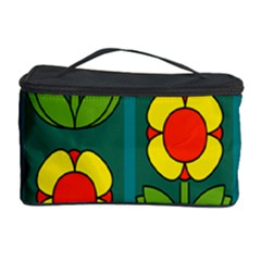 Retro Flowers Floral Rose Cosmetic Storage Case by AnjaniArt