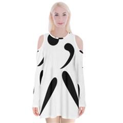 American Football Pictogram  Velvet Long Sleeve Shoulder Cutout Dress by abbeyz71