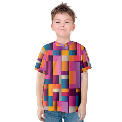 Abstract Background Geometry Blocks Kids  Cotton Tee by Amaryn4rt