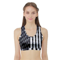 Architecture Building Pattern Sports Bra With Border by Amaryn4rt