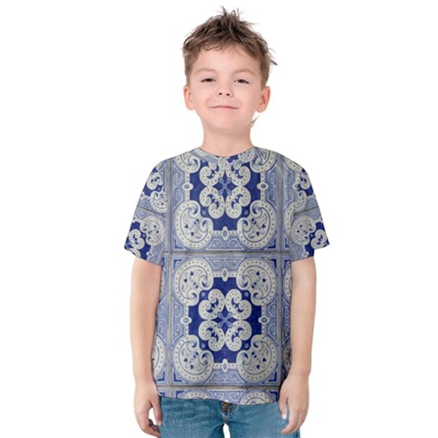 Ceramic Portugal Tiles Wall Kids  Cotton Tee by Amaryn4rt