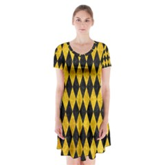 Diamond1 Black Marble & Yellow Marble Short Sleeve V Neck Flare Dress by trendistuff