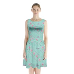 Love Flower Blue Background Texture Sleeveless Chiffon Waist Tie Dress by Amaryn4rt