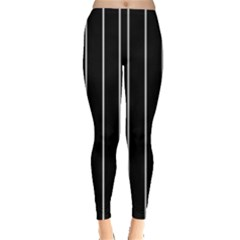 Black And White Lines Leggings  by Valentinaart