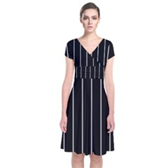 Black And White Lines Short Sleeve Front Wrap Dress by Valentinaart