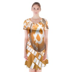 Network Bitcoin Currency Connection Short Sleeve V Neck Flare Dress by Amaryn4rt