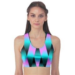 Shiny Decorative Geometric Aqua Sports Bra by Amaryn4rt