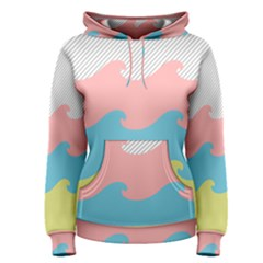 Wave Waves Pink Yellow Blue Women s Pullover Hoodie