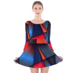3d And Abstract Long Sleeve Velvet Skater Dress by Nexatart