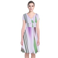 Colored Pattern Short Sleeve Front Wrap Dress