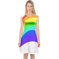 Rainbow Capsleeve Midi Dress by Jojostore