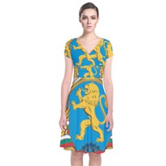 Coat Of Arms Of Bulgaria (1948 1968) Short Sleeve Front Wrap Dress by abbeyz71
