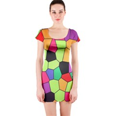 Stained Glass Abstract Background Short Sleeve Bodycon Dress by Nexatart