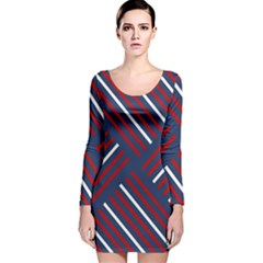 Geometric Background Stripes Red White Long Sleeve Velvet Bodycon Dress by Nexatart