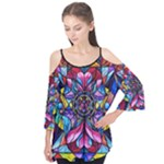 Self Love Blue Ray Healing Grid - Flutter Sleeve Tee