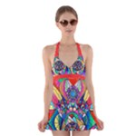 Blue Ray Transcendance Grid - Halter Swimsuit Dress