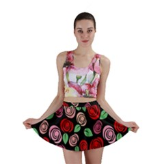 Red And Pink Roses Mini Skirt by Valentinaart