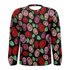 Red And Pink Roses Men s Long Sleeve Tee by Valentinaart