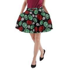 Decorative Floral Pattern A Line Pocket Skirt by Valentinaart