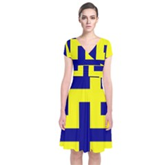 Pattern Blue Yellow Crosses Plus Style Bright Short Sleeve Front Wrap Dress by Nexatart