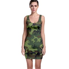 Camouflage Green Brown Black Sleeveless Bodycon Dress by Nexatart