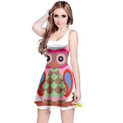 Owl Colorful Patchwork Art Reversible Sleeveless Dress by Nexatart