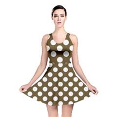 Brown Polkadot Background Reversible Skater Dress