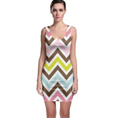 Chevrons Stripes Colors Background Sleeveless Bodycon Dress by Nexatart