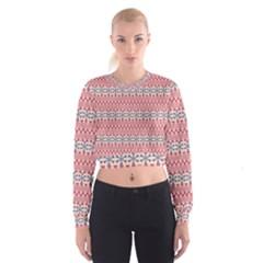 Christmas Pattern Vintage Women s Cropped Sweatshirt by Nexatart