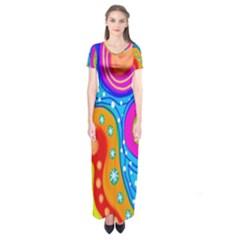 Doodle Pattern Short Sleeve Maxi Dress