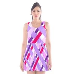 Diagonal Gingham Geometric Scoop Neck Skater Dress by Nexatart
