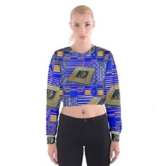 Processor Cpu Board Circuits Women s Cropped Sweatshirt by Nexatart