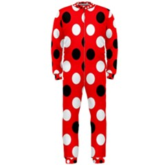 Red & Black Polka Dot Pattern Onepiece Jumpsuit (men)  by Nexatart