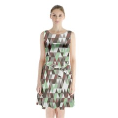 Pattern Triangles Random Seamless Sleeveless Chiffon Waist Tie Dress by Nexatart