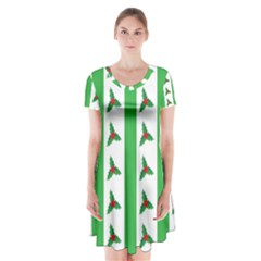 Holly Short Sleeve V Neck Flare Dress by Nexatart