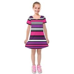 Stripes Colorful Background Kids  Short Sleeve Velvet Dress by Nexatart