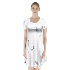 Cute Bunnies Short Sleeve V Neck Flare Dress by Brittlevirginclothing
