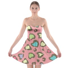 Rainbow Leopard Styled Hearts  Strapless Bra Top Dress by Brittlevirginclothing