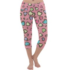 Rainbow Leopard Styled Hearts  Capri Yoga Leggings by Brittlevirginclothing