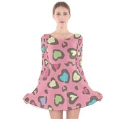 Rainbow Leopard Styled Hearts  Long Sleeve Velvet Skater Dress by Brittlevirginclothing