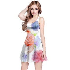 Watercolor Colorful Roses Reversible Sleeveless Dress by Brittlevirginclothing