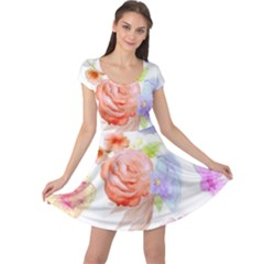 Watercolor Colorful Roses Cap Sleeve Dresses by Brittlevirginclothing