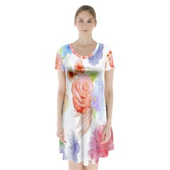 Watercolor Colorful Roses Short Sleeve V Neck Flare Dress by Brittlevirginclothing